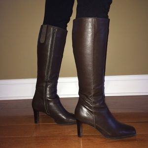 Lord & Taylor Brown Leather Heeled Boots