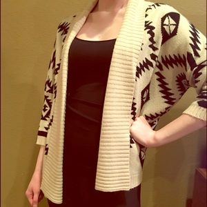 Francesca's Collections Sweaters - White and Black Aztec Sweater