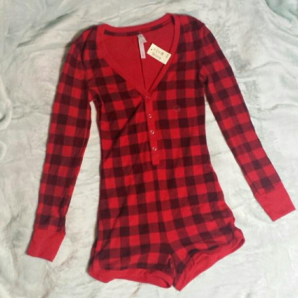 NEW Aeropostale Junior Girls Red Plaid Flannel PJ Pajama Shorty Shorts S Small