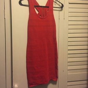 Red Cut-out back Bandage Dress