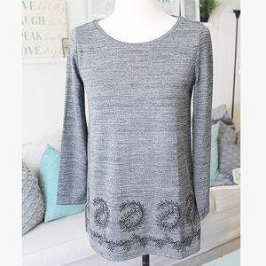 Gray Embroidered Sweater