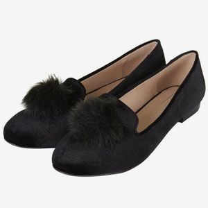 Velvet Pom Pom Loafers
