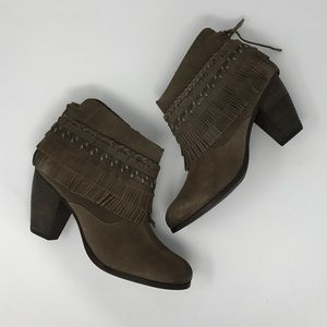 naughty monkey Shoes - Taupe Poncho Fringe Suede Boho Chunky Heel Booties