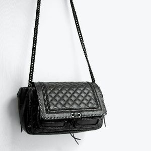 Zara // Quilted Leather Crossbody City Bag