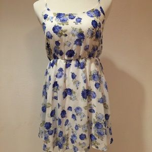F21 White Blue Floral Dress