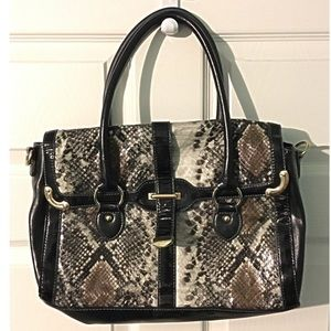 Black Python Purse Vegan Leather PU Satchel Bag