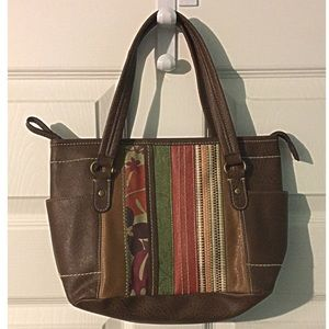 Boho Purse Vegan Leather PVC Brown Satchel