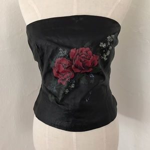 Leather rose corset top