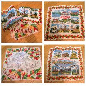 3 vintage Canada souvenir handkerchiefs, Unused