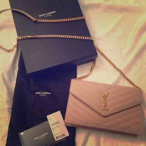 YSL Monogram Wallet On A Chain in Pale Pink