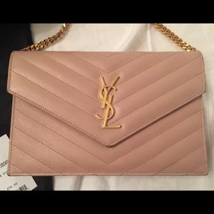 802bb36e967 Yves Saint Laurent Bags - YSL Monogram Wallet On A Chain in Pale Pink