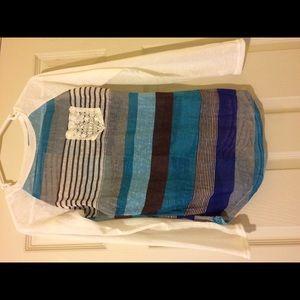 Japan Rags Tops - Sheer colorblock long sleeve shirt. NWT.💙