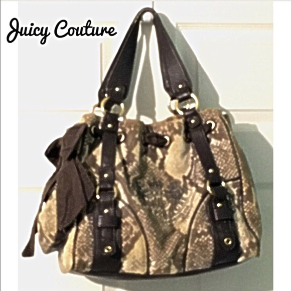 Juicy Couture Bags - Juicy Couture Velvet & Leather Handbag Brown Purse