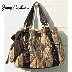 Juicy Couture Velvet & Leather Handbag Brown Purse
