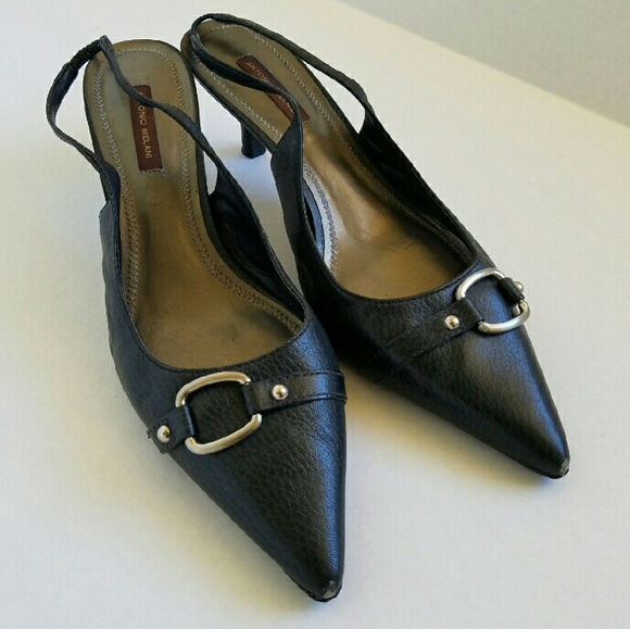 6e8c759a79fa ANTONIO MELANI Shoes - Navy Leather Kitten Heels with Silver Hardware