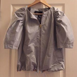 BCBG silver Silky bobmber jacket sz XS BNWOT