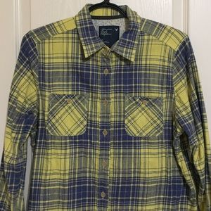 American Eagle Outfitters Tops - Yellow & Blue Flannel