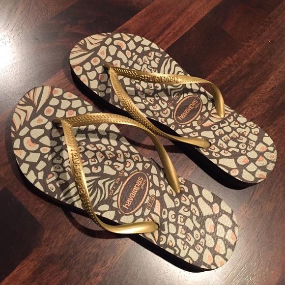31a0daa68856 Havaianas Shoes - Havaianas Slim Flip Flops- Leopard with gold strap
