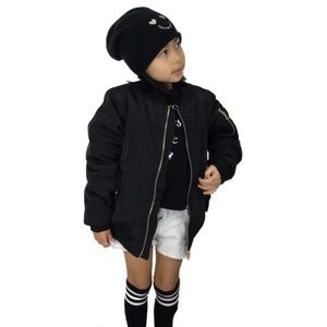 Other - Little Girls Black Bomber Jacket with Gold Zippers