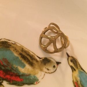 Jewelry - Hammered Gold Peace Sign Ring