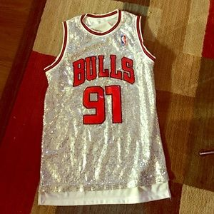 Sequin bulls jersey dress