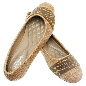 Tory K  Shoes - Women Studded Wedge Pumps, b-1400w, Camel