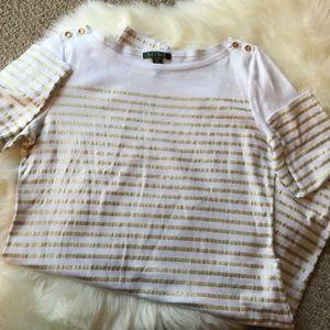 Lauren Ralph Lauren Dresses - Lauren By Ralph Lauren white/gold stripped dress