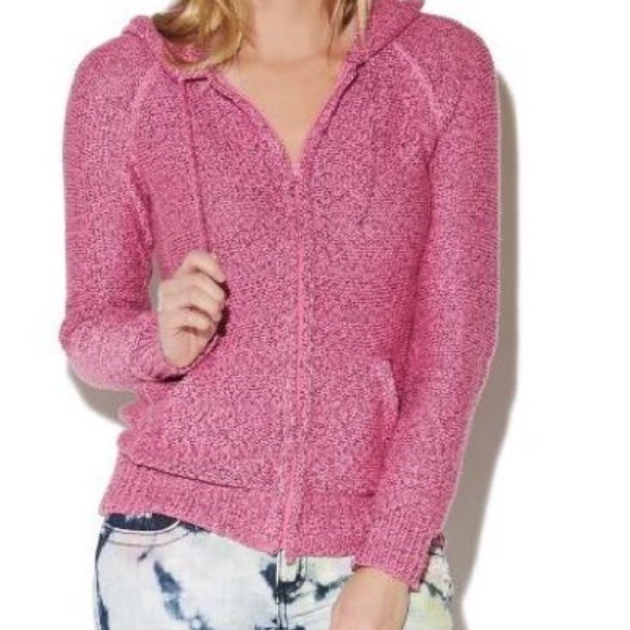 58% off Wet Seal Sweaters - WET SEAL Women's Zip Front Pink Marled ...