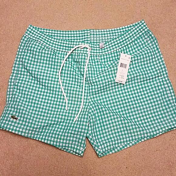 a088f0bbdd7d Men s Green Gingham Lacoste Bathing Suit NWT
