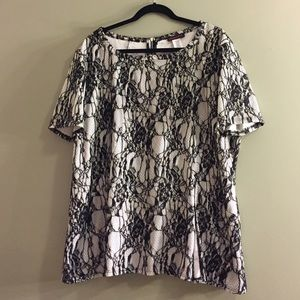 Glamour & Co. Tops - White and black lace size 2X-3X