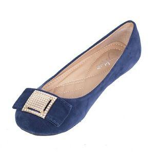 Tory K Shoes - Women Faux Suede Buckle Flats, b-1619, Navy