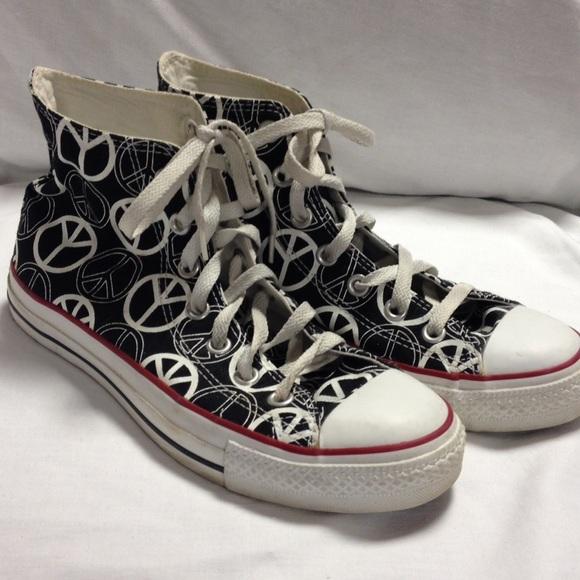 fcf301176923 Converse Shoes - Converse high top black peace sign tennis shoes