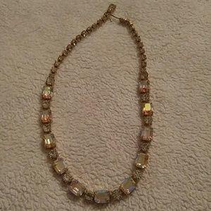 Jewelry - Unique Vintage Rhinestones Necklace Gold Tone