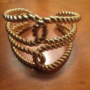 Gold knot cuff bracelet