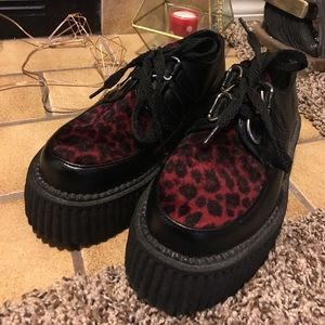 N.Y.L.A. Shoes - N.Y.L.A. morbid threads red leopard creepers 5-5.5