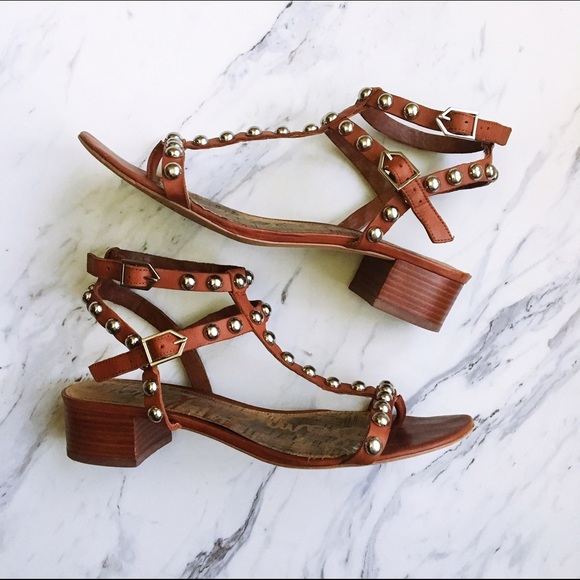 57ae114a5cd1 Sam Edelman Brown Asbury Studded Block Heel. M 5866efe799086ad7a3020ec7