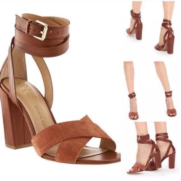 66c8c1036f9 Banana Republic Shoes - Banana Republic Pella camel ankle wrap sandals 8