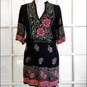 Angie Dresses & Skirts - Angie Black and Floral Beaded Boho Dress
