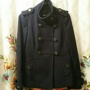 Navy blue military style coat from Mango