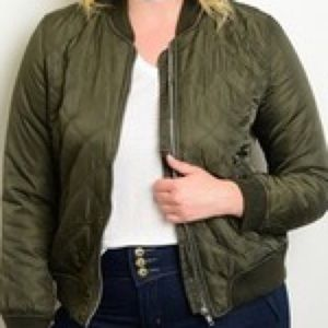 Jackets & Blazers - Olive Green Bomber Jacket