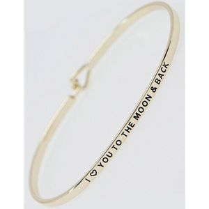 Jewelry - I ❤️ You to the Moon & Back Stamped Bracelet Gold