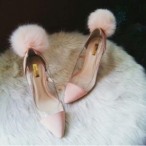 Shoes - //The Clarissa// Blush pink Pom heels