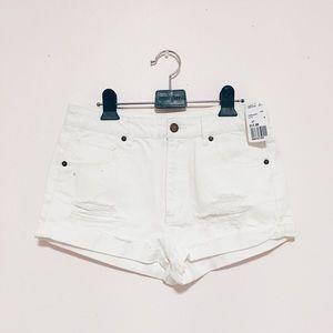 F21 white Denim distressed shorts