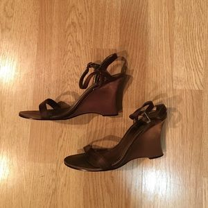 Unlisted Shoes - Unlisted Size 8, Satin brown wedges