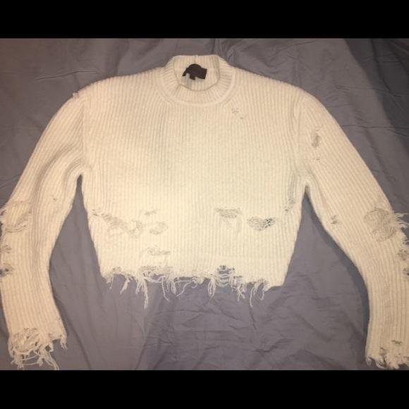 Yeezy Sweaters Szn 3 White Ripped Sweater Poshmark