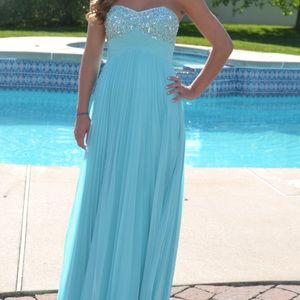 Light blue prom dress with sequins