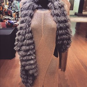 Slate Grey Faux Fur Vest