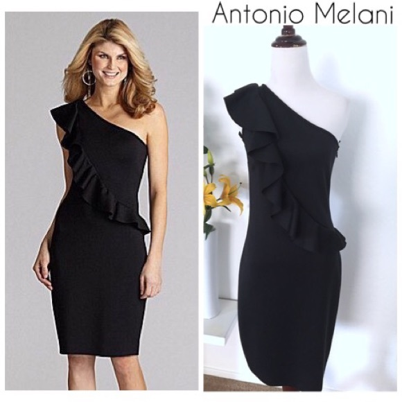 235e9f340bb ANTONIO MELANI Dresses | Black Ruffle One Shoulder Dress | Poshmark