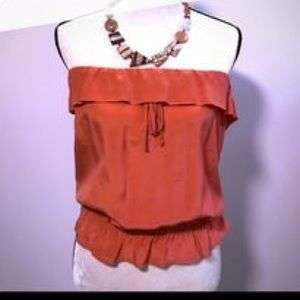 Eight Sixty Tops - Silk-like top. Deep salmon color!