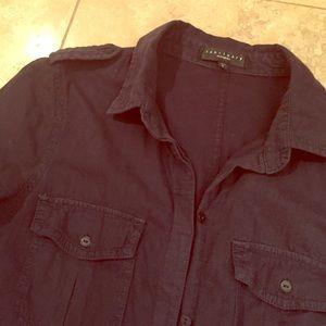 Sanctuary shirt tunic, dark navy, long